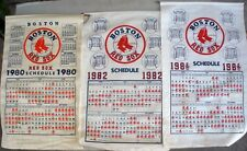 VERY RARE 3 LOT VINTAGE ORIG 1980-82 BOSTON RED SOX CLOTH SCHEDULE CALENDARS