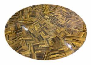 "24"" Semi Precious Stones Tiger Eye Inlay Art Marble Table Top Home Decor"
