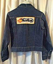 Vintage Boys Med Selvedge Blue Jean Denim Trucker Jacket NORTON Cycle Patch GUC