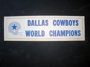 RARE DALLAS COWBOYS 1972 NFL SUPER BOWL CHAMPS VINTAGE UNUSED BUMPER STICKER