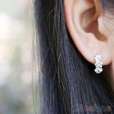 925 Sterling Silver Plated Huggie Style Rhinestone 3 Flower Crystal Hoop