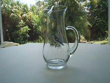 VINTAGE GLASS LIPPED PITCHER BLUE JAY CARDINAL BIRDS (1021)