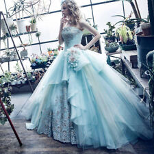 Baby Blue Princess Wedding Dresses Tulle Bridal Ball Gowns Lace Flowers Dress