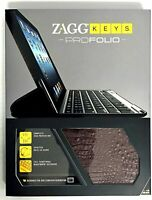 Zaggkeys Profolio Bluetooth Keyboard Case for iPad 2nd 3rd and 4th Alligator NEW