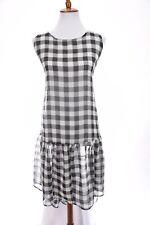 ASOS Shift Dress Drop Waist High Low Ruffle Sheer Plaid Black White Sz 8 Medium