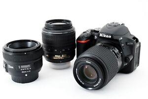 Nikon D5500 24.2MP 18-55/55-200/50mm Lens Set [Exc++++] w/8GB SD Card,Strap[575]