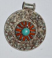 Asian  Locket Sterling Silver Pendant  Tibetan Turquoise Tribal Jewelry OCT26