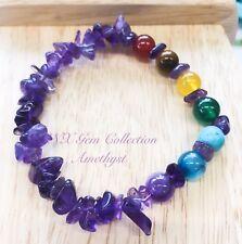 Gem Crystal Natural Amethyst Chipstone HandMade Chakra Beads Stretchy Bracelet B