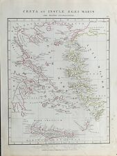1841 AEGEAN SEA CRETE ANCIENT GREECE HAND COLOURED ANTIQUE MAP BY ARROWSMITH