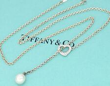 TIFFANY&Co Open Heart Pearl Lariat Necklace Peretti Silver 925 b422