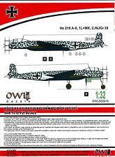 Owl Decals 1/32 HEINKEL He-219A-0 Night Fighter 2./NJGr.10