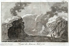 ETNA: Cratere nel 1785. Catania.Sicilia. Rarissima.Acquaforte.Stampa Antica.1809