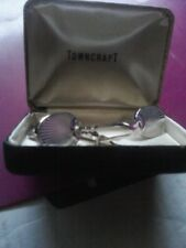Vintage Silver Tone Cuff Links and Tie Clip  by Towncraft