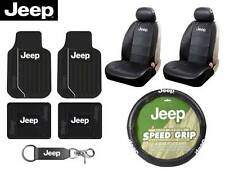 10 Pc Jeep Elite Seat Covers & Steering Cover & (Front &Rear Rubber Floor Mats)