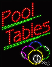 """New """"Pool Tables"""" w/Logo 26x20x1 Solid/Animated Led Sign W/Custom Options 21265"""