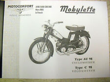 Mobylette/Moped/AV98/AU98/C98/D98/In French/ Parts Book With Exploded Diagrams