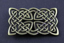 RECTANGULAR CELTIC GOLD KNOT WITH CUT OUT METAL BELT BUCKLE  SCOTTISH GAELIC