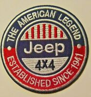 "Jeep 4x4~Embroidered Patch~The American Legend~1941~3"" Round~Iron or Sew On"