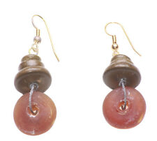 Button/ Brown Wooden Stack Earrings(Zx202) Exuberant - Translucent Orange Candy