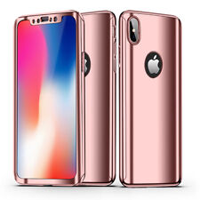 360 Degree Full Body Plating Mirror Hard Case Cover+Tempered Glass For iPhone X