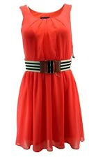 BCX Womens Dress Junior XXS Sleeveless Belted Crepe Lined Orange Summer $59 New