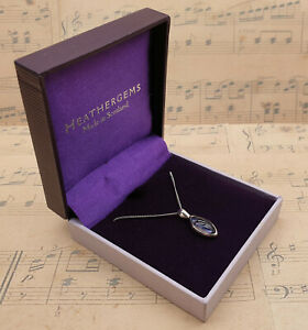 Vintage 925 Sterling Silver Scottish Heather Gems Pendant Necklace with Box