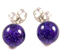 "DICHROIC Post EARRINGS Tiny 1/4"" 7mm Violet Purple Metallic Fused GLASS STUDS"