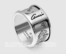 GUCCI RING STERLING SILVER METALLIC ICONIC FLORA LOGO SCRIPT sz 12 US 6