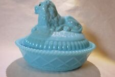 Westmoreland Glass Lion Antique Blue Milk Glass Covered Dish
