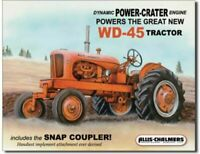 Allis Chalmers WD 45 Tractor Farm Plow Metal Tin Ad Sign Equipment Picture Decor