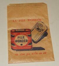 Ancien Sachet publicitaire La Pile WONDER ne s'use que si l'on s'en sert