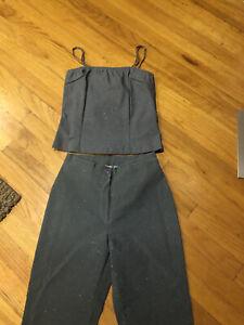Fetish 3 piece pant suit Juniors Gray Sz Small