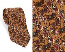 SALVATORE FERRAGAMO Gold Burgundy Horse Equestrian Print 100% Silk Necktie Tie
