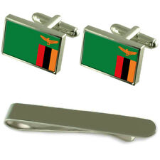 Zambia Flag Silver Cufflinks Tie Clip Engraved Gift Set