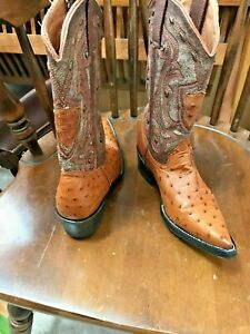 CUSTOM Cowboy Boots 5 OR 5.5 C Womens EXOTIC Ostrich Leather Western Rodeo Boots