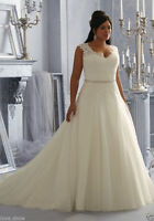 Sexy V-neck White/Ivory Bridal gown Appliques Wedding dress Custom Plus size