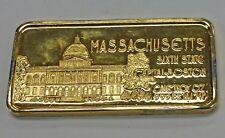 {BJSTAMPS} 24K Gold Covered 1 Ounce .999 Silver Art Bar STATE OF MASSACHUSETTS