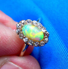 1880s Antique Victorian 14k Solid Gold Opal Old European Cut Diamond Deco Ring