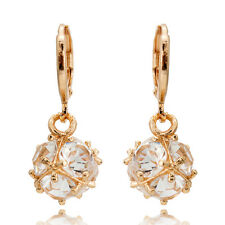 Womens 18K Yellow Gold Filled Elegant Crystal Ear Drop Dangle Bridal Earrings