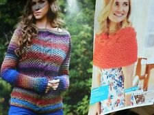 Textured Cable Sweater Jumper & Shawl/Cape Knitting Pattern
