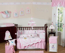 Unique Pink and White Ballet Ballerina Baby Girl 9p Crib Bedding Comforter Set