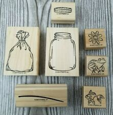 Stampin Up All Wrapped Up 7pc Set Frog Jar Fish Flowers Bag New Pet Childhood