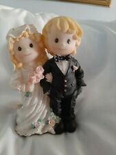 "Wedding Cake Toppers Set of  BRIDE AND GROOM 8"" Figurine Resin Pink Rose's (M58)"