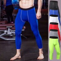 Men Compression Leggings Running Basketball Pants 3/4 Crop Base Layers Tight Fit