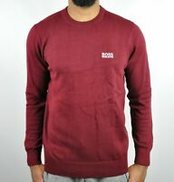 HUGO BOSS Crew Neck Sweater For Men - Burgundy Size - L