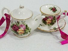 Royal Albert Old Country Roses Set Teapot & Tea Cup Christmas Ornaments ☆ NEW ☆