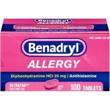 Benadryl Allergy Ultratab Tablets Diphenhydramine HCl 25 mg 100 Count Exp:(2022)