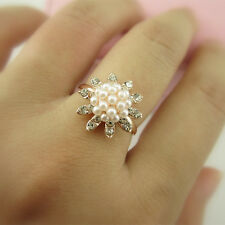 Korean Chic Rhinestone Crystal Pearl Cute Flower Openings Ring Size Adjustable