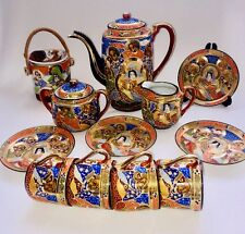 Satsuma Moriage Gilded Tea Set. Japanese Legendary Motifs of 7 Gods of Fortune.