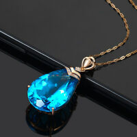 14K Rose Gold Necklace with Blue Sapphire Pendant UK Seller